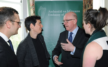 Charlie Flanagan TD, Minister for Foreign Affairs and Trade at the Irish Embassy in London, 5th September 2014. Pictured 3rd left with Patrick Harte from the London Irish Lawyers Association, Jennie McShannon from Irish in Britain and Cliodhnagh Conlon from the London Irish Business Society.