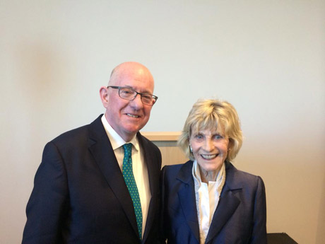 Minister Charlie Flanagan with the former US Ambassador to Ireland, Jean Kennedy Smith, honouring her late great brother Ted