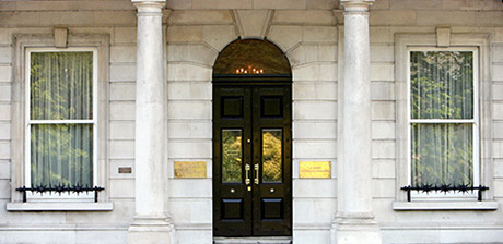 Shot of the front door of Iveagh house, the headquarters of the Department of Foreign Affairs
