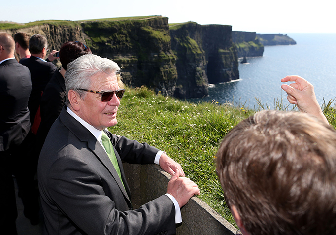 State Visit 2015 H.E. Mr Joachim Gauck taking a tour at the Cliffs of Moher, Co Clare